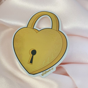 PC00069-GLD-OS - Heart Padlock Sticker - Love Lock Lovelock - Gold Metallic Vinyl - Stickers for Laptop Water Bottle Phone Case - Wildflower + Co.