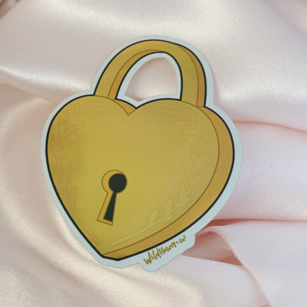 PC00069-GLD-OS - Heart Padlock Sticker - Love Lock Lovelock - Gold Metallic Vinyl - Stickers for Laptop Water Bottle Phone Case - Wildflower + Co.