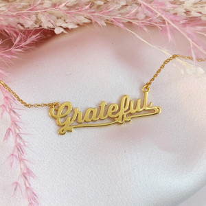 JW00801-GLD-OS Grateful Necklace - Gold Vermeil - Dainty Everyday - Gratitude Positivity - Wildflower + Co. Jewelry & Gifts (5) USE