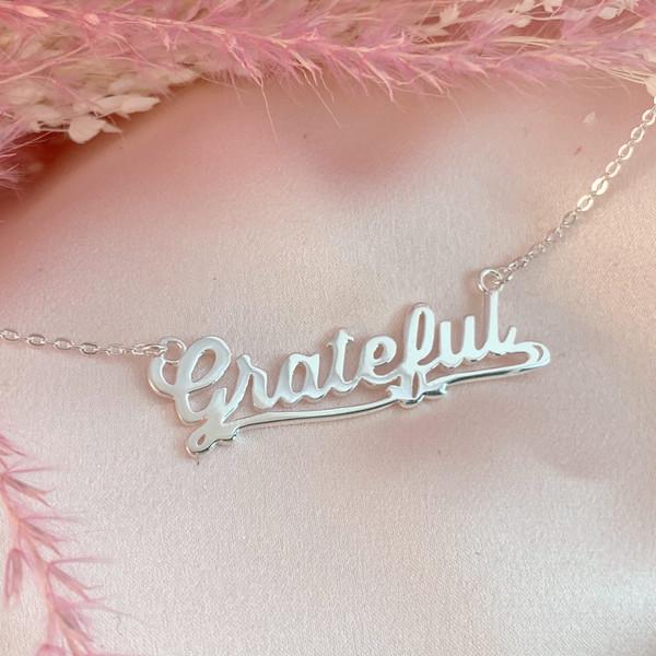 JW00801-GLD-OS Grateful Necklace - Gold Vermeil - Dainty Everyday - Gratitude Positivity - Wildflower + Co. Jewelry & Gifts