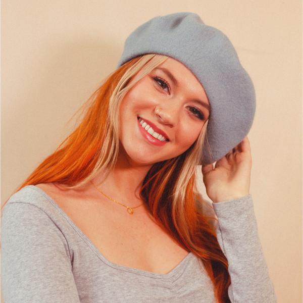 Sky Blue Beret Hat - Wool - Wildflower + Co.