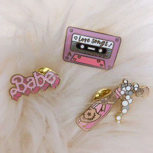 Seconds Sale - Enamel Pins - Rose Champagne, Love Songs Mix Tape & Babe