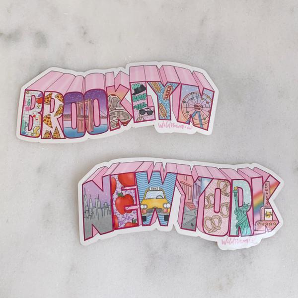 New York City & Brooklyn Vinyl Sticker Stickers - Souvenir -Travel - Wildflower + Co (16)