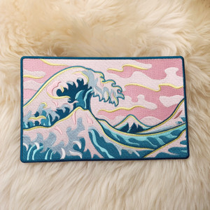 TR00379-MLT-OS Great Wave XL Back Patch for Jackets - Summer Beach Beachy Pink Skies Waves - Wildflower + Co. DIY