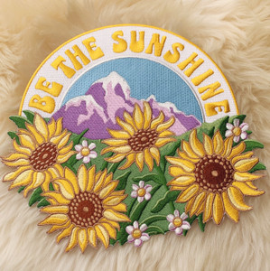 TR00381-MLT-OS Be the Sunshine XL Back Patch for Jackets - Sun Mountain Nature VSCO - Wildflower + Co
