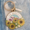 AC00159-MLT-OS Be the Sunshine Enamel Keychain - Keyring- Gold - Nature Outdoors Mountain Sun Positivity Quote - VSCO Wildfllower + Co.