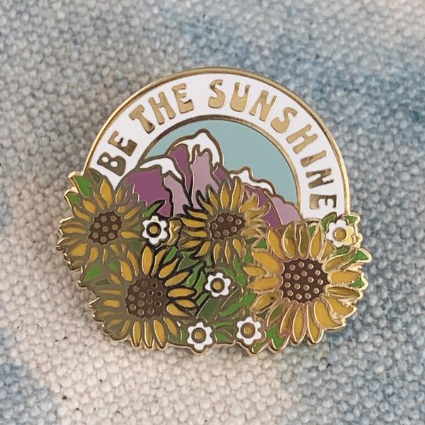 AC00160-MLT-OS Be the Sunshine Enamel Pin - Flowers- Positivity- VSCO Wildflower + Co