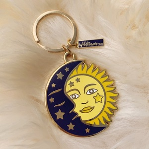 AC00162-MLT-OS Sun & Moon Enamel Keychain - Celestial Cosmic - VSCO- Wildflower + Co