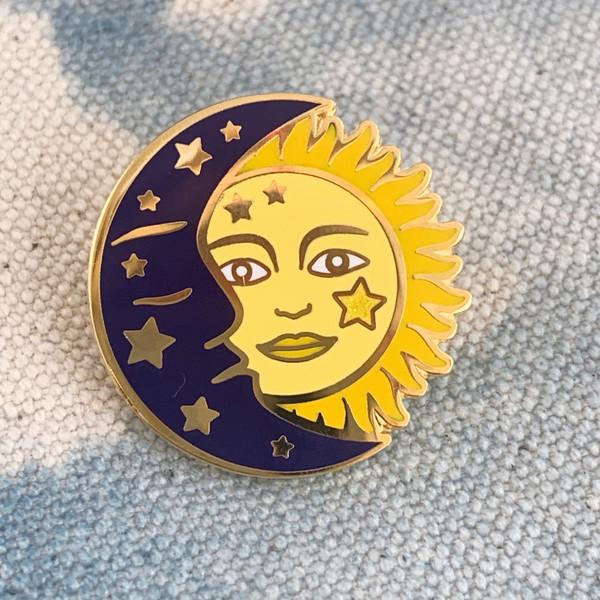 AC00163-MLT-OS - Sun & Moon Enamel Pin - Celestial Cosmic Astronomy - VSCO Wildflower + Co
