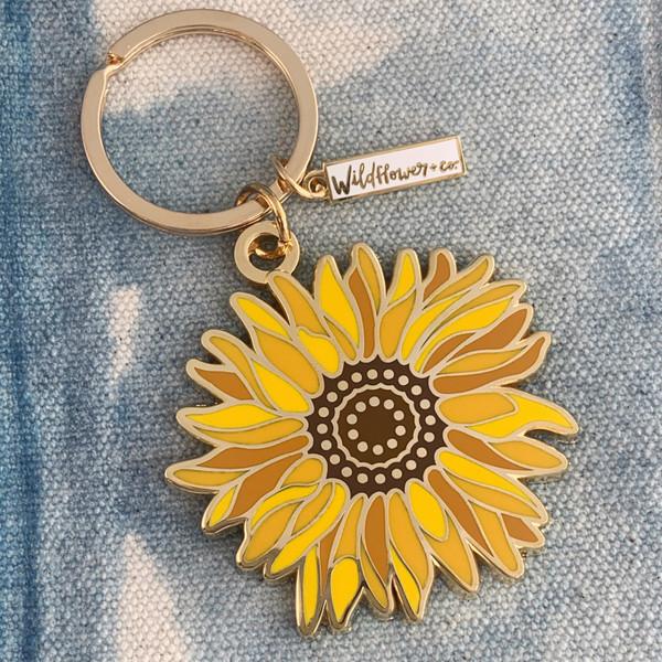 AC00164-MLT-OS Sunflower Enamel Keychain - Flower Floral VSCO  - Wildflower + Co