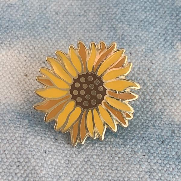 AC00165-MLT-OS Sunflower Enamel Pin - Yellow Flower Floral - VSCO - Wildflower + Co.  (1)
