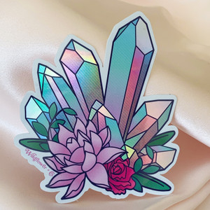 PC00077-MLT-OS Crystal Holographic Vinyl Sticker - Aura Crystal Pink Lotus - Aesthetic Stickers - Stickers for Laptop Water Bottle Hydroflask - VSCO- Wildflower + Co - Indigo