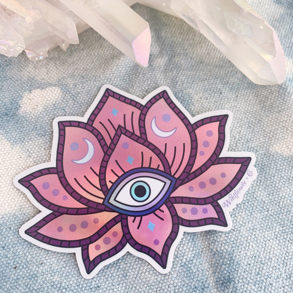 PC00078-MLT-OS Lotus Flower Evil Eye Holographic Vinyl Sticker - - Pink Lotus - Yoga Boho Free Spirit - Aesthetic Stickers - Stickers for Laptop Water Bottle Hydroflask VSCO - Wildflower + Co