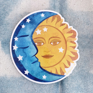 PC00091-MLT-OS Sun & Moon Vinyl Sticker - Cosmic Astrology Astronomy Celestial Magic - Yoga Boho Free Spirit - Aesthetic Stickers - Stickers for Laptop Water Bottle Hydroflask VSCO - Wildflower + Co