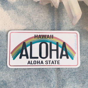 PC00075-MLT-OS Hawaii Aloha License Plate Vinyl Sticker - VSCO Beach Aesthetic Stickers -  Stickers for Laptop Water Bottle Hydroflask - Wildflower + Co - Indigo (1)