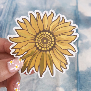 PC00079-MLT-OS Sunflower Metallic Vinyl Sticker - Yellow Flower VSCO Aesthetic Stickers -  Stickers for Laptop Water Bottle Hydroflask - Wildflower + Co - Indigo