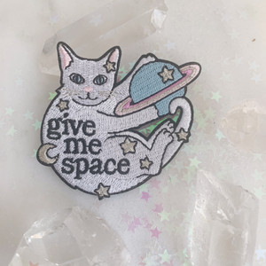 TR00374-MLT-OS Give Me Space Cat Patch - Embroidered Patches for Jackets - Planet Moon Stars Cute Pastel - VSCO - Wildflower + Co. DIY