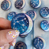 AC00181-HOL-OS Aquarius Zodiac Button Pin - Cute, Glitter Holographic Pins ! All Star Signs - Glitter Moon & Constellation - Wildflower + Co. - VSCO
