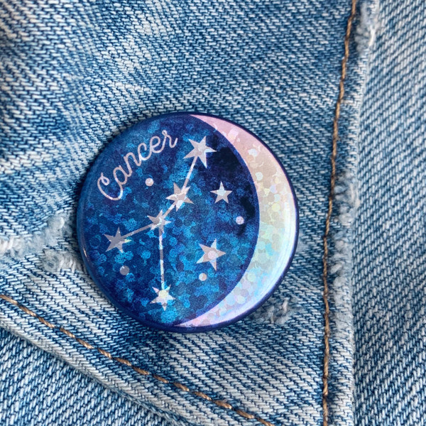 AC00182-HOL-OS - Cancer Zodiac Button Pin - Cute, Glitter Holographic Pins ! Star Signs - Glitter Moon & Constellation - Wildflower + Co - VSCO