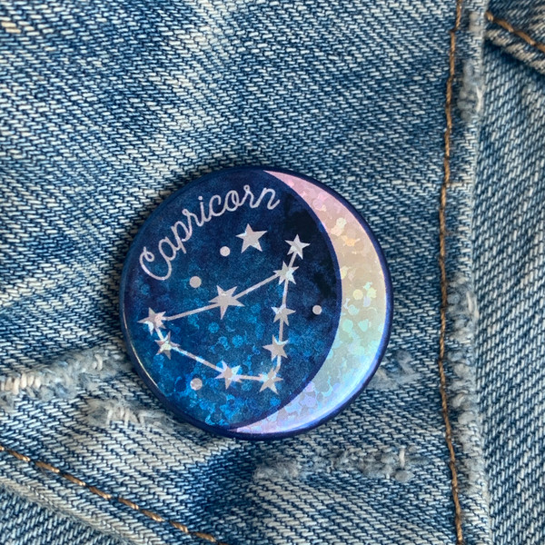 AC00183-HOL-OS - Capricorn Zodiac Button Pin - Cute, Glitter Holographic Pins ! All Star Signs - Glitter Moon & Constellation - Wildflower + Co - VSCO