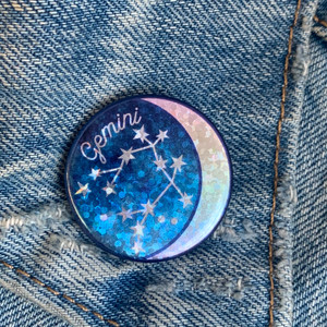 AC00184-HOL-OS - Gemini Zodiac Button Pin - Cute, Glitter Holographic Pins ! All Star Signs - Glitter Moon & Constellation - Wildflower + Co - VSCO