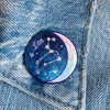 AC00185-HOL-OS - Leo Zodiac Button Pin - Cute, Glitter Holographic Pins ! All Star Signs - Glitter Moon & Constellation - Wildflower + Co - VSCO