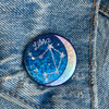 AC00186-HOL-OS Libra Zodiac Button Pin - Cute, Glitter Holographic Pins ! All Star Signs - Glitter Moon & Constellation - Wildflower + Co - VSCO