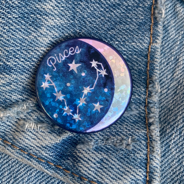 AC00187-HOL-OS Pisces Zodiac Button Pin - Cute, Glitter Holographic Pins ! All Star Signs - Glitter Moon & Constellation - Wildflower + Co - VSCO