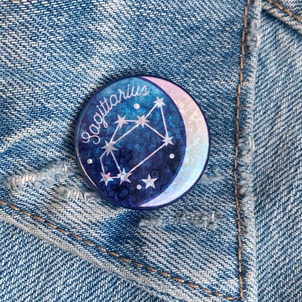 AC00188-HOL-OS Sagittarius Zodiac Button Pin - Cute Glitter Holographic Pins - Star Signs - Glitter Moon Constellation - VSCO