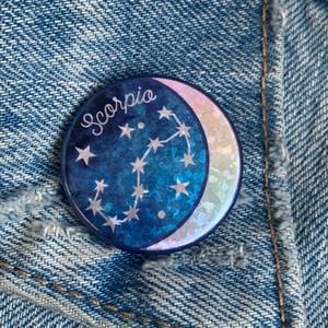 Scorpio Zodiac Button Pin - Cute, Glitter Holographic Pins ! All Star Signs - Aquarius Aries Cancer Capricorn Gemini Leo Libra Pisces Sagittarius Scorpio Taurus Virgo - Glitter Moon & Constellation - Wildflower + Co - VSCO