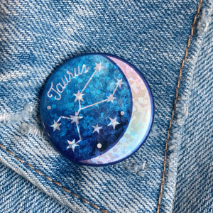 AC00190-HOL-OS Taurus Zodiac Button Pin - Cute, Glitter Holographic Pins ! All Star Signs - Glitter Moon & Constellation - Wildflower + Co - VSCO