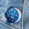 AC00191-HOL-OS Virgo Zodiac Button Pin - Cute, Glitter Holographic Pins ! All Star Signs - Glitter Moon & Constellation - Wildflower + Co - VSCO