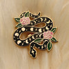 AC00172-MLT-OS Snake Enamel Pin - Serpent Lapel Pin - Magical Moon Phases Lunar Cosmic Rose - Gold Black Pink - Wildflower + Co - VSCO
