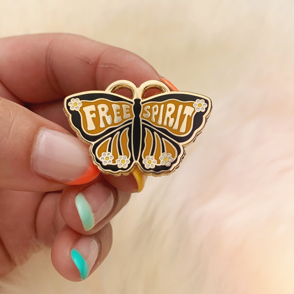 AC00173-MLT-OS Free Spirit Butterfly Enamel Pin - Lapel Pins - Hard Enamel - Monarch Butterfly Gifts - Butterfly Jewelry - Daisy Boho Bohemian - Wildflower + Co - VSCO