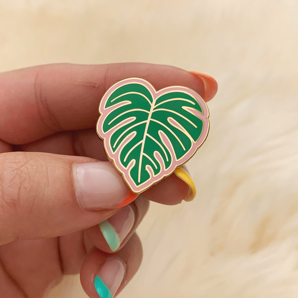 AC00174-MLT-OS Monstera Leaf Enamel Pin - Plant Pin Enamel - Hard Enamel Lapel Pins - Cute Plant Gift for Plant Lady Gifts for Gardener - Wildflower + Co - VSCO