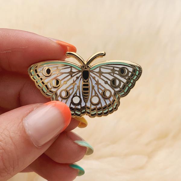 AC00147-GLD-OS Lunar Moth Enamel Pin - Luna Moth - Butterfly Enamel Pin - Moon Phases Cosmic Celestial - White Glitter Lapel Pin - Wildflower + Co - VSCO