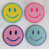 TR00403-ALL-OS Smiley Face Iron On Patch - Embroidered Patches for Jackets - Yellow Pink Mint Purple Blue Happy Faces -  Wildflower + Co. DIY - VSCO