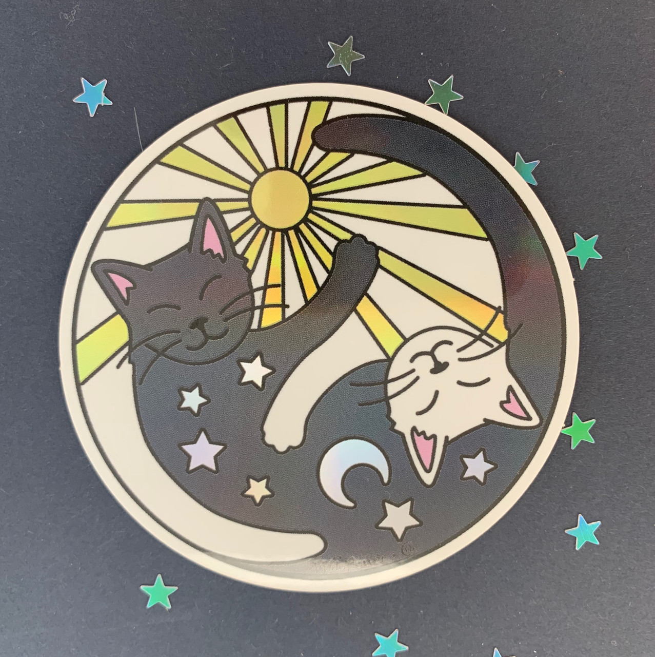 Yin Yang Sun Moon Cats Sticker Holographic Wildflower Co