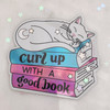 PC00096-MLT-OS - Curl up with a good book - Cat Sticker- Cute cat - Curl up - Stickers for water bottles - Laptop Stickers - Cute Stickers - Wildflower + Co. - VSCO