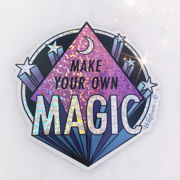 Make Your Own Magic Sticker - Glitter Holographic Vinyl - blue lilac purple - Stickers for Laptop Water Bottle Phone Case - Wildflower + Co