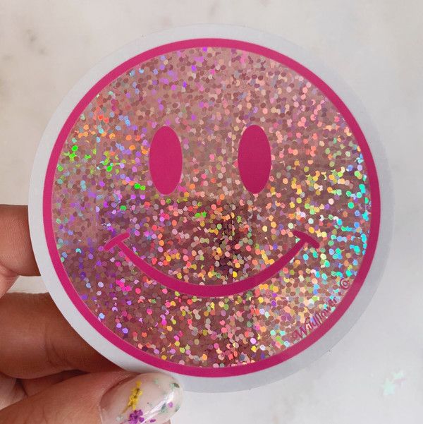 PC00101-PNK-OS _ Pink Sticker- Pink glitter sticker- Pink smiley face glitter sticker - Cute sticker - Stickers for water bottles - Laptop stickers - VSCO