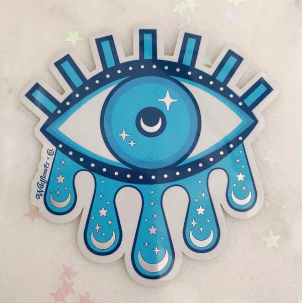 PC00102-BLU-OS - Cosmic sticker- Evil eye sticker - Cosmic evil eye sticker - Blue sticker - Stickers for water bottles - Laptop stickers - Wildflower + Co. - VSCO