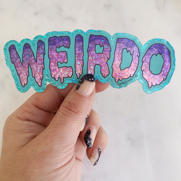 Weirdo Sticker - Glitter Holographic Vinyl - aqua blue lilac purple - Stickers for Laptop Water Bottle Phone Case - Wildflower + Co  (8)