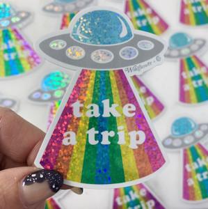Take a Trip UFO Sticker - Glitter Holographic Rainbow - Space Alien Trippy - Stickers for Laptop Water Bottle - Wildflower + Co (1)