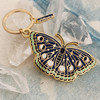 AC00153-GLD-OS Night Butterfly Enamel Keychain - Lunar Moth - Luna - Moon Phases, Stars, Night Sky - Midnight Blue & Gold Hard Enamel Key Chain - Keyring - Wildflower + Co - VSCO