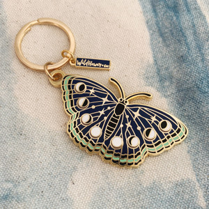 AC00153-GLD-OS Night Butterfly Enamel Keychain - Lunar Moth - Luna - Moon Phases, Stars, Night Sky - Midnight Blue & Gold Hard Enamel Key Chain - Keyring - Wildflower + Co - VSCO