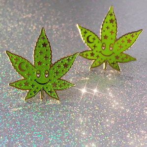 Cosmic Stoner Weed Enamel Pin - Glitter - Marijuana Cannibis Mary Jane - Wildflower + Co (2)