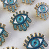 Cosmic Eye Enamel Pin - Evil Eye Teardrops Moon & Stars - Turquoise Blue & Gold - Wildflower + Co (2)