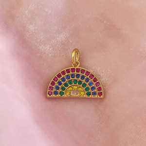 Rainbow Charm Pendant Gold & Bright Pave Crystals - Wildflower + Co. Charm Jewelry (2)