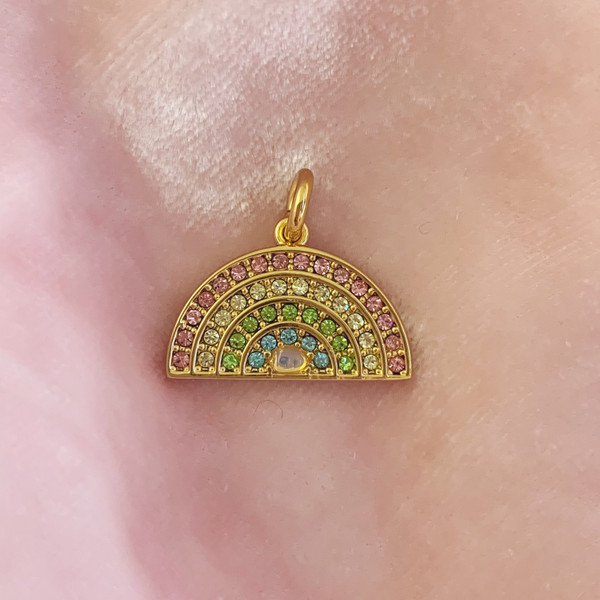 Rainbow Charm Pendant Gold & Pastel Pave Crystals - Wildflower + Co. Charm Jewelry
